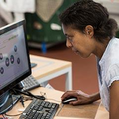 Teacher at computer